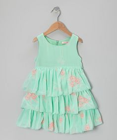 Take a look at this Mint Floral Tiered Dress - Toddler & Girls by Paulinie on #zulily today!
