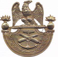 Plaque de shako 1er Empire, règlement de 1812, pour l'artillerie de la marine