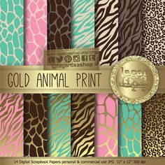Animal Print Gold Pink Mint Aqua Brown Tourquiese Digital Paper Background giraffe zebra Scrapbooking Blog invitations thank you cards