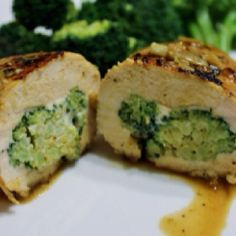 Broccoli and Swiss stuffed grilled chicken .... Easy and yummy!