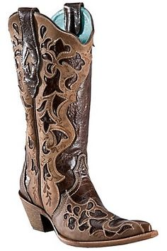 Corral® Ladies Dark Brown w/ Light Brown Truffle Overlay Pointed Toe Western Boots
