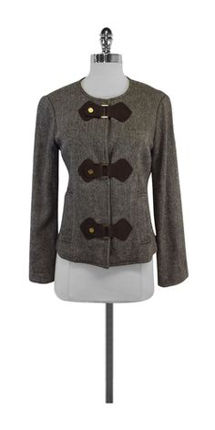 Tory Burch Brown Wool Herringbone Jacket