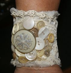 Sold!!! Shabby Chic Victorian Romantic Vintage Salvaged by funkologie, $125.00 Fabric Bracelets, Fabric Jewelry, Cuff Bracelets, Vintage Lace, Vintage Jewelry, Unique Jewelry, Lace Cuffs, Vintage Boutique, Collar And Cuff