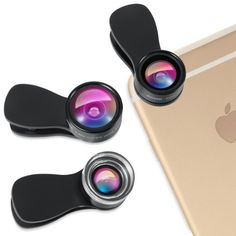 Amir® 3 in 1 Clip-on Cell Phone Camera Lens Kit, 25x Macro Lens + 0.36x Wide Angle Lens + 180° Fisheye Lens for iPhone 6S, 6S Plus, Samsung Galaxy, Windows & Most Smartphones