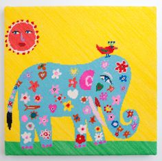 super cute elephant needlepoint canvas - something like this would be great in the nursery (though this is very spendy)