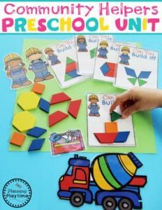 Community Helpers Preschool Theme - Building With Shapes. Community Helpers For Kids, Community Workers, School Community, Community Helpers Kindergarten, Preschool Math Games, Preschool Centers, Preschool Themes, Physical Education, Science Education