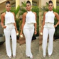 Buy Womens 2 Piece Suit Sexy Crop Top and Long Pants Ladies Work Office Clubwear Bodycon Jumpsuit at Wish - Shopping Made Fun All White Party Outfits, All White Outfit, African Fashion, Fashion Women, Fashion Usa, Fashion 2015, Fashion Brands, Style Fashion, Dressy Rompers And Jumpsuits
