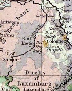 In het grijze gedeelte het grondgebied van het prinsbisdom Luik in 1477. Bron uitsnede kaart: Universiteit van Texas - Central Europe in 1477 uit de Historical Atlas van William R. Shepherd, 1926.