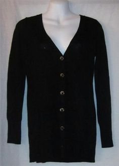 Ann Taylor Loft Small Sweater NEW NWT Womens Small Sweater Black Button Up CUTE  $26.99