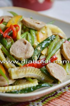 Diah Didi's Kitchen: Tumis Sayur Campur Campur Saus Tiram Pork Recipes, Lunch Recipes, Asian Recipes, Healthy Recipes, Healthy Food, A Food, Good Food, Food And Drink, Food Art