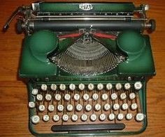Vintage Royal green typewriter (with ribbon covers that look like quotemarks!)