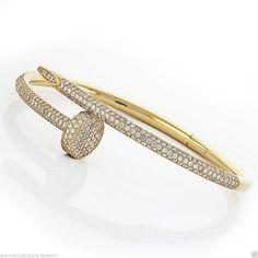 Cartier Juste Un Clou Nail Bracelet 18K Yellow Gold Diamond Pave Bracelet #Cartier #Bangle