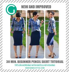REMAKE! 30 Min.Pencil Skirt Tutorial w/ Tips On Working With Knits!