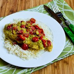 Recipe for Foil-Wrapped Grilled Tilapia Packets with Pesto, Tomatoes, and Green Onions [from Kalyn's Kitchen] #GlutenFree  #SouthBeachDiet