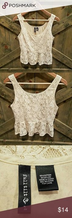 Cream Lace Top Tilly's Full Tilt cute sleeveless top. Hooks in front from top to bottom. No rips or stains or snags. Entire Blouse has lace front and back. Juniors large. Tops