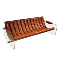 mid century leather sofa attributed to Fabio Lenci