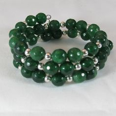 Faceted Jade Bead Memory Wire Bracelet/ Triple Strand Memory Wire Bracelet/ Handmade/ Hand Crafted/ Green Bracelet by NellieAnneDesigns on Etsy
