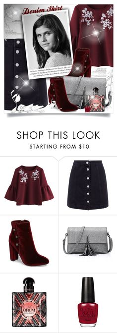 """Denim Skirt"" by beautifulplace ❤ liked on Polyvore featuring Nina and Yves Saint Laurent"