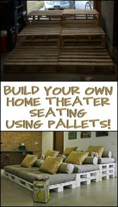 Have Your Own Cinema at Home By Building a Pallet Movie Theater Sofa! - - Have Your Own Cinema at Home By Building a Pallet Movie Theater Sofa! apartment ideas Have Your Own Cinema at Home By Building a Pallet Movie Theater Sofa! Movie Theater Rooms, Home Cinema Room, Home Theater Decor, Best Home Theater, Home Theater Seating, Home Theater Design, Home Decor, Movie Theater Basement, Attic Movie Rooms