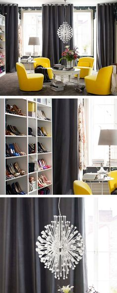 Our designer freed up the living room walls by moving the seating area to the middle of the room. That way there's lots of space for wardrobes to hold fabulous outfits and row upon row of tantalising heels. Now all that's missing is the catwalk.