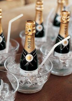 Cute idea mini-champagne with individual glass chillers…great idea for bachelorette parties!