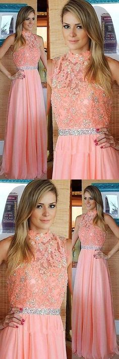 A-Line Prom Dress, High Neck Prom Dress, Lace Evening Dresses Prom Dresses 2019 Peach Prom Dresses, Lace Party Dresses, A Line Prom Dresses, Lace Evening Dresses, Cheap Dresses, Homecoming Dresses, Lace Dress, Formal Dresses, Dress Long