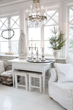 Great Candle Vignette for Candle Impressions Flameless Tapers -- white, bright, and festive for Christmas!