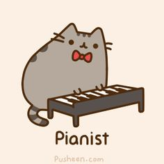 pusheen is a gray (not fat) tabby cat. he is the piyano player of the band. pusheen likes donuts and bacon and cake and cheetos. he loves to dress up and ride unicorns, i mean who doesn't right? Gato Pusheen, Pusheen Love, Pusheen Stuff, Fat Cats, Cats And Kittens, Crazy Cat Lady, Crazy Cats, Animal Gato, Nyan Cat