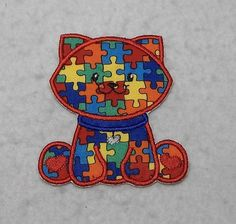Kitty Cat Autism Awareness Puzzle Piece - MADE to ORDER - Choose SIZE - Tutu & Shirt Supplies - Iron on Applique Patch 8212 by TheFabricScene on Etsy