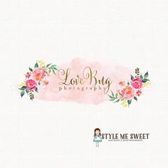 peony logo design watercolor flower logo by stylemesweetdesign