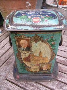 RARE Large Antique Shop Counter Tin SCOTTISH COOPERATIVE SOCIETY Jubilee 1918