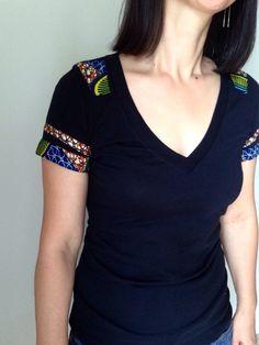 Women+Deep+V-neck+African+Print+Tshirt+by+cocushubi+on+Etsy