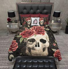 Antiqued Red Rose Skull Duvet Bedding Sets