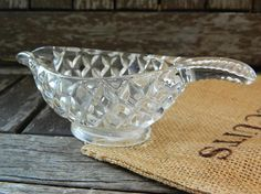 Vintage Cut Glass Small Sauce Dish/Gravy Boat