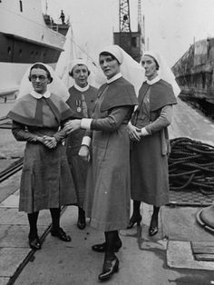 Nurses Waiting on Dock for Wounded Soldiers to Be Unloaded from British Hospital Ship