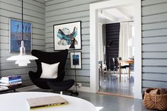 Dark gray walls, white trim