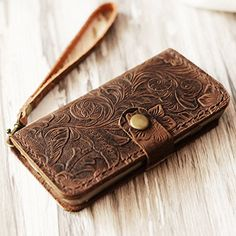 Leather iPhone 6 / 6s case iPhone 7 / 7 Plus wallet case iPhone 6 / 6s / 6 plus / 6s Plus wallet case, iPhone SE / 5 / 5s wallet Case - Italian distressed oiled leather (Brown Pattern)