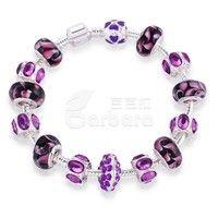Purple Murano Glass Beads 925 Silver Charm Bracelet DIY Jewellery Size:18cm/20cm/21cm