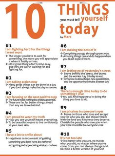 10 Things YOU must tell yourself today..  and everyday as you wake up and get up out of bed!