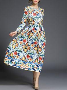 Crew Neck Printed Floral Elegant Long Sleeve Midi Dress