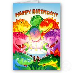 Custom Dinosaur Birthday Card by Paul Stickland for DinosaurStore on Zazzle #dinosaurs