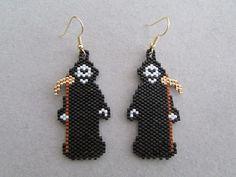 Grim Reaper Earrings in delica seed beads by DsBeadedCrochetedEtc
