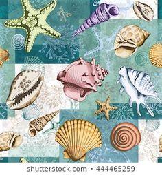 Ilustrações stock, imagens e vetores de Sea Shell | Shutterstock Starfish, Sea Shells, Coral, Illustration, Pattern, Inspiration, Free Sewing, Layering, Groomsmen