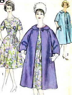 1960s Dress Pattern and Coat Simplicity 3788 Flared by paneenjerez, $14.00