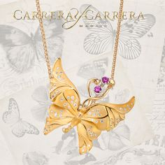 Alegoria pendant of yellow gold with saphires and diamonds, UNIVERSO collection by Carrera y Carrera. #carreraycarrera #goldenjewels #jewels #preciousgifts #jewelry