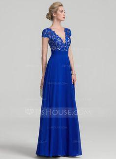 A-Line/Princess V-neck Floor-Length Chiffon Evening Dress With Ruffle (017116321)
