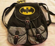 BATMAN LOGO SLOUCH BACKPACK NEW LICENSED DC COMICS KNAPSACK