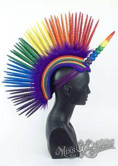 31faff0ab24 Rainbow Mohawk by Miss G Designs etsy.com shop MissGDesignsShop Headpiece  unicorn pride