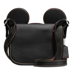 Mickey Mouse Ears Patricia Leather Saddle Bag by COACH - Black