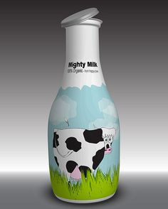 Milk Bottle | Melkfles #milk #bottle #design #cow #koe #packaging